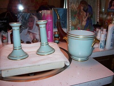 unused baby blue Limoges candlestick holders & ice bucket The Halle Bros. Co.