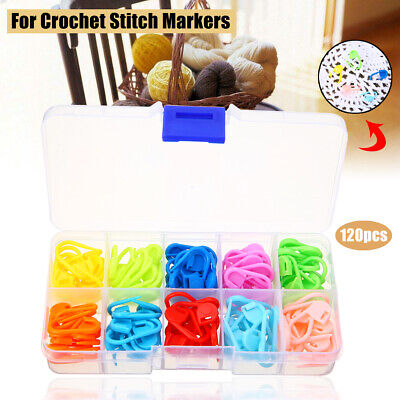 120pcs Amazing Knitting Crochet Locking Stitch Needle Clip Markers Holder Set