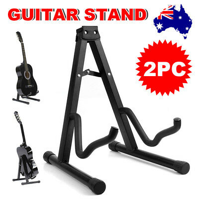 2 Folding Guitar Stand Electric Acoustic Bass Portable A Frame Floor Rack Holder