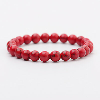 Men Women Natural Red Turquoise Chakra Bead Elastic Natural Stone Agate Bracelet