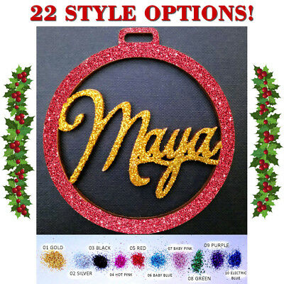 Personalised Christmas Tree Decoration Bauble Any Name Hanging Ornament+GLITTER!