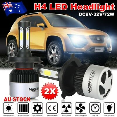 Nighteye 72W 9000LM H4 HB2 LED Headlight Kit Hi/Lo Beam Bulbs Globe 6500K WWB