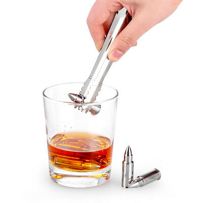 6pcs Stainless Steel Ice Cube Whisky Bullet Stones Wine Cooler Cola Beer Cooling