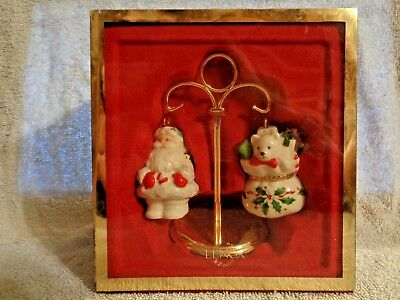Santa & Toys Salt and Pepper Shaker - Lenox Glass - 5 inches - Christmas Holiday