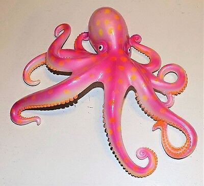 "9"" OCTOPUS Pink Tropical Fish Wall Hanging Decor Nautical Ocean Beach Art"