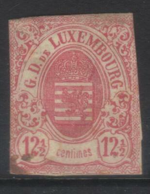 LUXEMBOURG 1859-1864 IMPERF 12 1/2c RED USED