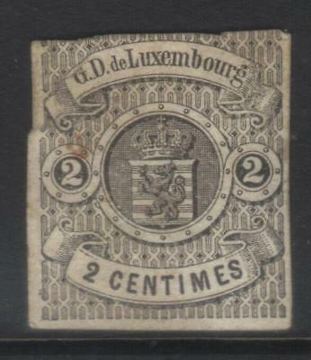 LUXEMBOURG 1859-1864 IMPERF 2c BLACK USED