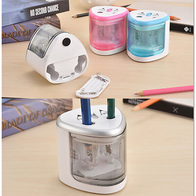 1x Dual-Holes School Automatic Electric Pencil Sharpener Battery Stationery Kids