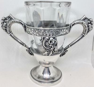 Antique 1850's Sterling Silver Scarab Grapes wine Loving cup baccarat swirl vase