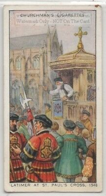 Latimer Preaching at St. Paul's Cross London England 1548 80+ Y/O Ad Trade Card