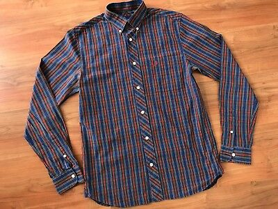 Mens Blue Red FRED PERRY TARTAN Checked SHIRT (S) *L@@K*