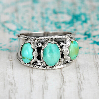 Three Stone Genuine Turquoise Ring Sterling Silver Chunky Thumb Boho Size 7 8 9