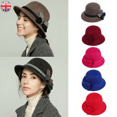 Women Ladies Classic Wool Felt Hat High Quality Casual Bowler Cap Bow Color