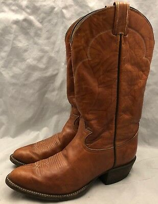a5f745ffdce Tony Lama Mens 8 EE Classic Brown Leather Pull On Western Cowboy