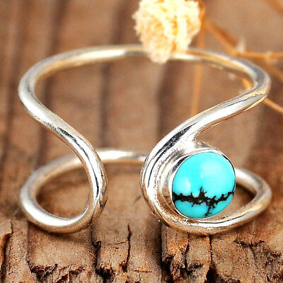Turquoise Ring Sterling Silver 925 Women Simple Midi Thumb Boho Adjustable Size