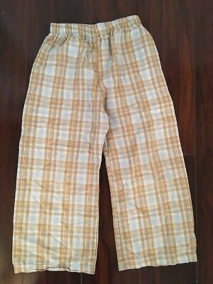 Boy Boutique 5T Blue Brown Plaid Pants Elastic Waist Wear With Smock Fall 4T