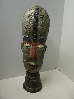 Hand Carved Wood & Tin African Tribal Mask (Reproduction) 19 Inches tall