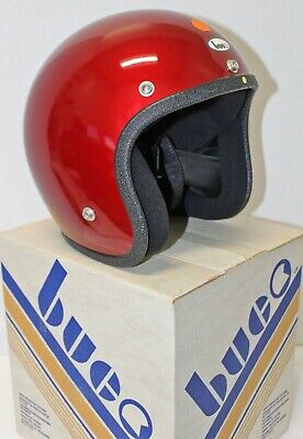 VINTAGE 1977 BUCO Adult Med Motorcycle Helmet Candy Red Easy Rider Style w/ Box!