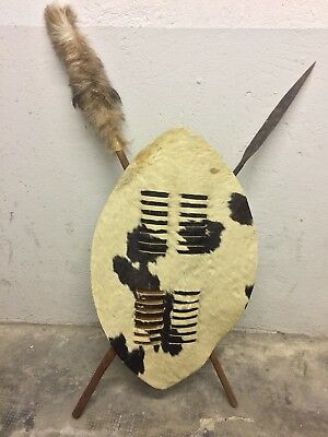 Originale Vintage  Shield Scudo Zulu In Pelle Mazza E Lancia In Ferro