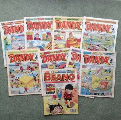 collection of 8 vintage Dandy comics and 1 Beano comic used good condition