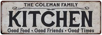 THE COLEMAN FAMILY KITCHEN Personalized Chic Metal Sign 106180039103