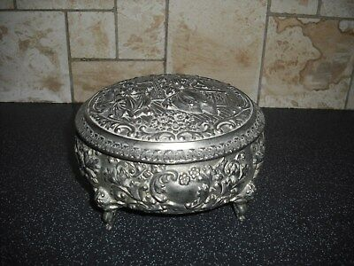 Silver Plated/Metal Footed Jewellrey Box -Repousse Decoration