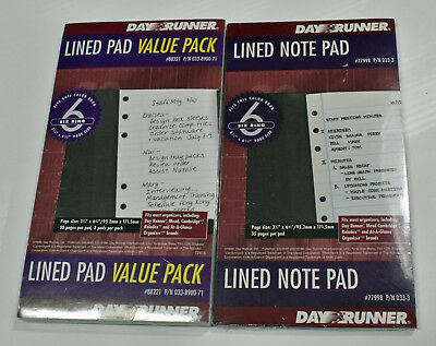 Dayrunner 4 Lined Paper Pads Refills 1 Blue Pad & Value Pack w/ 3 White Pads