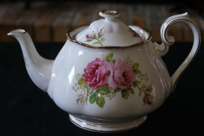 "Royal Albert American Beauty Tea Pot 9.75"" wide 5.75"" high at the handle Mint"