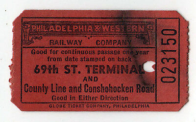 1940s PHILADELPHIA AND WESTERN RAILWAY Trolley Pass TICKET Train RR 69th Street