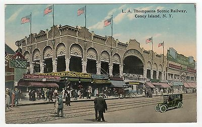 CONEY ISLAND PC Postcard NEW YORK CITY NYC NY Amusement Park LA SCENIC RAILWAY