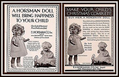 Ad Lot Of 2 1911 - 1912 Ads Horseman Co Doll Dolly Rosebud Baby Dimples Photo