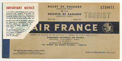 1952 AIR FRANCE Ticket BOSTON Frankfurt Germany PARIS French AIRFRANCE Baggage