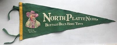 ANTIQUE 1920s BUFFALO BILL Cody NORTH PLATTE NEBRASKA Vintage Pennant COWBOY