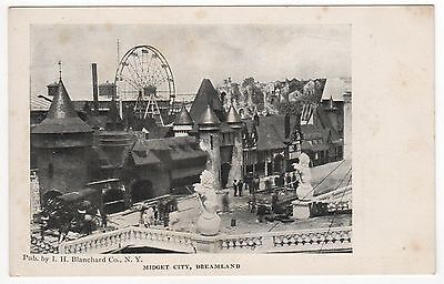 CONEY ISLAND PC Postcard NEW YORK CITY NYC Amusement Park MIDGET CITY Dreamland