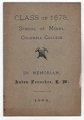 RARE 1884 Columbia College School of Mines UNIVERSITY New York City NYC Ivy