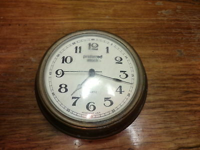 "Vintage 5 1/8"" Preferred Stock Quartz Clock Copper or Brass Metal for parts only"
