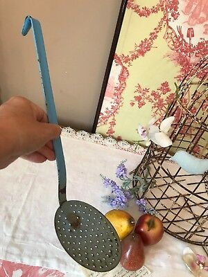 Vintage French Blue Enamel Ladel Slotted Spoon Hanging Retro Large Skimmer