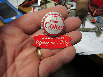 Vintage Coca Cola Fish Tail Bottle Cap Pin Back