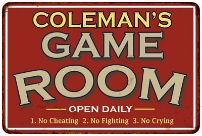 COLEMAN'S Game Room Personalized Sign Vintage Look Metal Wall 108120001084