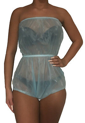 super soft PVC Body blau Inkontinenz Bodysuit Brustschlüpfer Windelhose Windeln