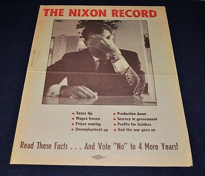 Vintage 1972 Anti-President Richard Nixon Political Campaign McGovern Flier