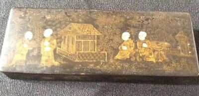 Antique Paper mache lacquer postal stamp box/dispenser. Chinese/ Japanese. RARE