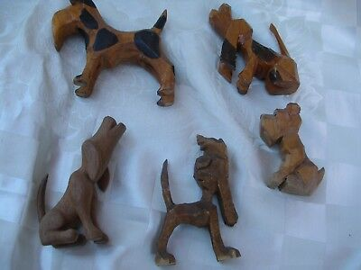Collection Of 5 Hand Carved Wood Dogs, Mid 20Th Century