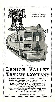 Lehigh Valley Transit Company,  Interurban timetable,  July 14, 1950