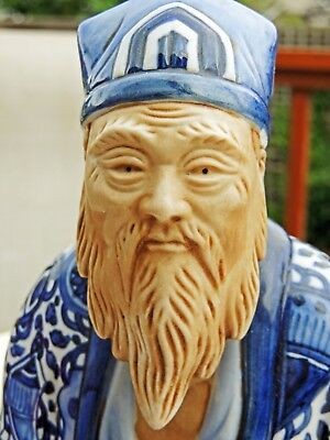 "JAPANESE MUD MAN BLUE/WHITE PORCELAIN FIGURINE ""JUROJIN"" - God of Longevity, 11"""