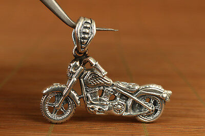 Chinese Old 925 fine silver Hand-Carved skull Statue pendant motorbike