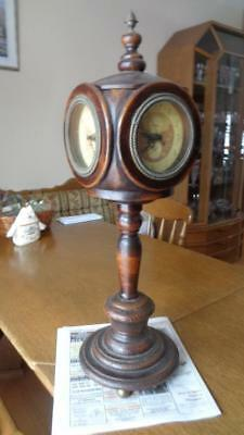 "Small 26"" Tall Wood Lamp Post Clock 4 Sided all Working Replica No makers Marks"