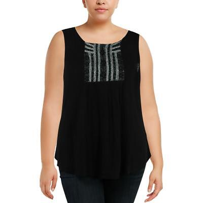 cb0b820c Lucky Brand Womens Black Embellished Tank Pullover Top Blouse Plus 2X BHFO  1514