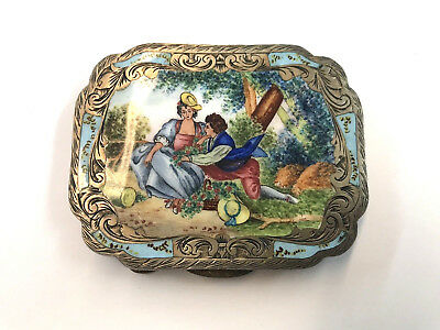 Circa Early 1900's Italian .800 Fine Silver Hand Painted Compact Box