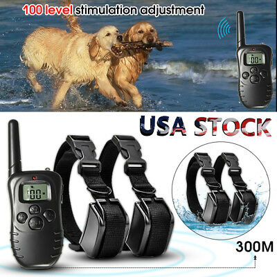 100LV 300M Remote Electric Shock Vibrate Pet 2 Dog Training Collar Waterproof US